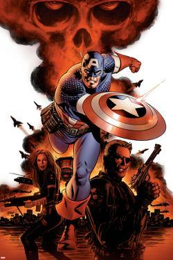 Captain America No.1 Cover: Captain America, Nick Fury and Black Widow by Steve Epting