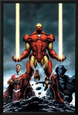 Iron Man No.84 Cover: Iron Man, Falcon, Black Panther, Wasp, Ant-Man and Avengers by Steve Epting