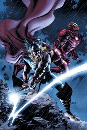 Thor No.80 Cover: Thor and Iron Man by Steve Epting