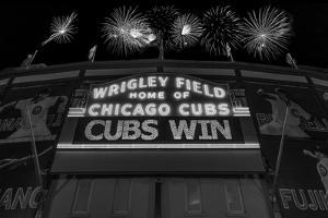 Chicago Cubs Win Fireworks Night BW by Steve Gadomski
