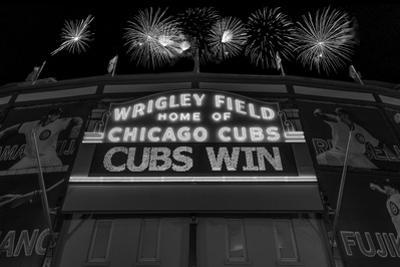 Chicago Cubs Win Fireworks Night BW by Steve Gadomski