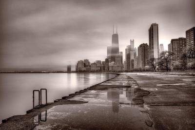Chicago Foggy Lakefront BW