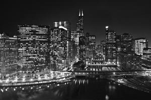 Chicago River Panorama BW by Steve Gadomski