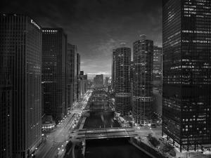 Chicago River Sunset BW by Steve Gadomski