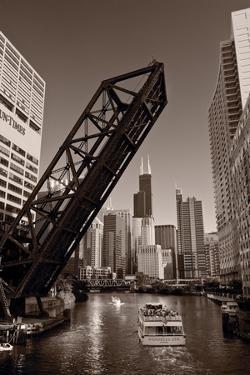 Chicago River Traffic BW by Steve Gadomski