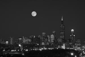 Chicago Skyline & Full Moon In Black & White by Steve Gadomski