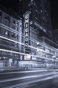 Chicago Theater Marquee In Black & White by Steve Gadomski