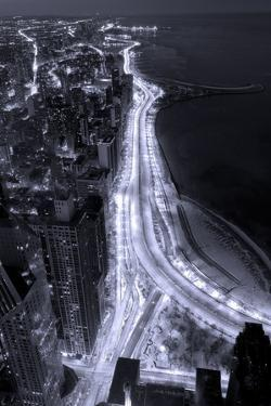 Lake Shore Drive Aerial Black White by Steve Gadomski