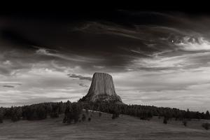 Last Light On Devils Tower BW by Steve Gadomski