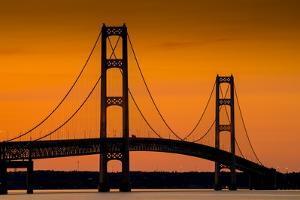 Mackinac Bridge Sunset by Steve Gadomski