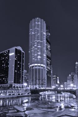 Marina City on the Chicago River BW by Steve Gadomski