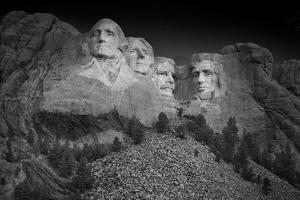 Mount Rushmore South Dakota Dawn BW by Steve Gadomski