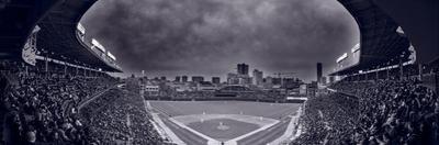 Wrigley Field Night Game Chicago BW by Steve Gadomski