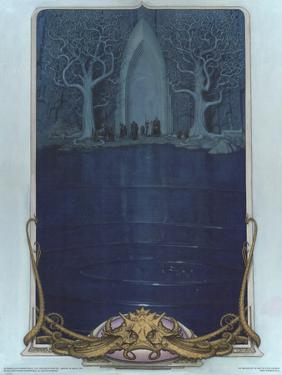 Watcher at the Gate (The Fellowship before the gate of Moria) by Steve Hickman