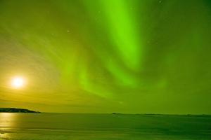 Green Northern Lights over the Sea, Beaufort Sea, ANWR, Alaska, USA by Steve Kazlowski