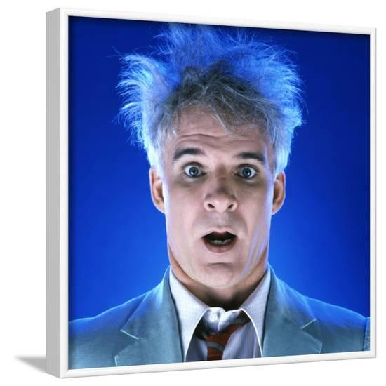 """STEVE MARTIN. """"THE MAN WITH TWO BRAINS"""" [1983], directed by CARL REINER.--Framed Photographic Print"""