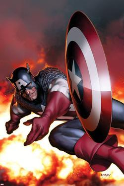 Captain America No.2 Cover: Captain America Jumping and Throwing his Shield by Steve MCNiven