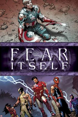 Fear Itself No.6 Cover: Captain America, Iron Man, Spider-Man, Wolverine, Spider Woman and Hawkeye