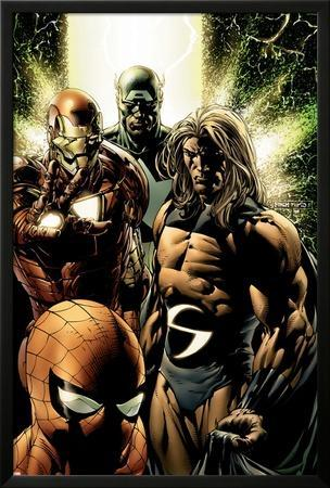 New Avengers No.8 Cover: Captain America, Sentry, Iron Man, Spider-Man and New Avengers