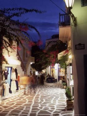Alleyway at Night, Mykonos, Greece by Steve Outram