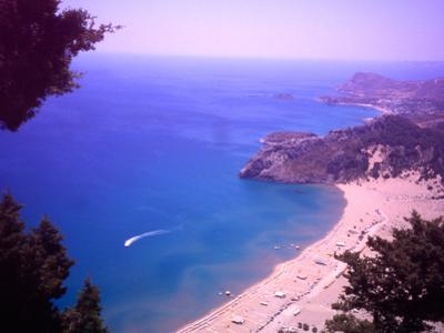 Beach at Tsambika from the Monastery, Rhodes, Dodecanese Islands, Greece by Steve Outram