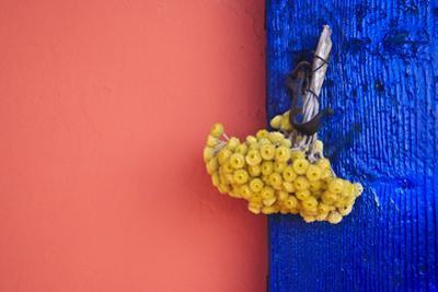 Bouquet on Blue Shutters, Crete, Greece by Steve Outram