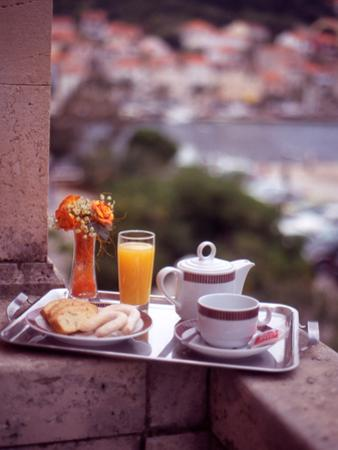 Breakfast Tea and Biscuits on Bedroom Balcony, Hotel Korcula, Korcula Island, Croatia by Steve Outram