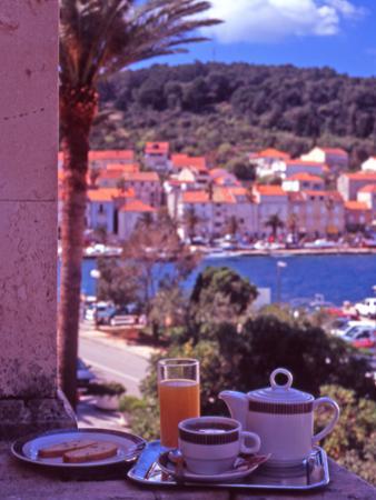 Breakfast Tea on Bedroom Balcony, Hotel Korcula, Korcula Island, Croatia by Steve Outram