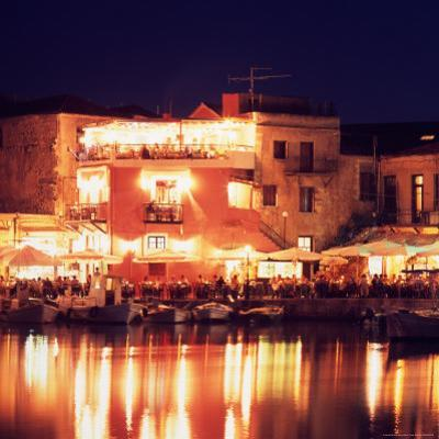 Harborside Restaurants at Night, Old Town, Rethymnon, Western Crete, Greece by Steve Outram
