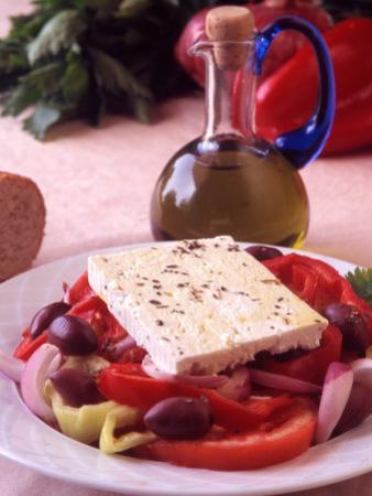 Salad and Bottle of Cretan Olive Oil, Crete, Greece by Steve Outram