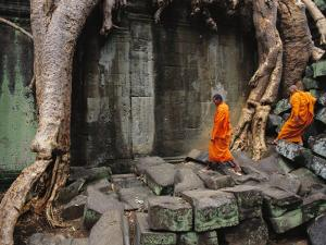 Angkor Wat Temple with Monks, Siem Reap, Cambodia by Steve Raymer