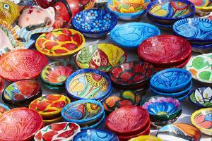 Mexico, Jalisco. Bowls for Sale in Street Market by Steve Ross