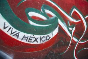 Mexico. Wall Painted to Celebrate Colors of Mexican Flag by Steve Ross