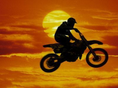 Digital Composite of Motocross Racer Doing Jump