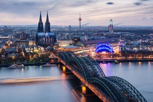 View over Cologne in the Evening, North Rhine-Westphalia, Germany by Steve Simon