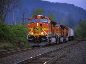 Freight Train Moving on Tracks, Stevenson, Columbia River Gorge, Washington, USA by Steve Terrill