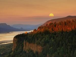Moonrise over Columbia River Gorge by Steve Terrill
