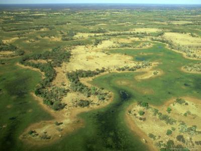 Aerial View of Inland Sea Formed by Okavango Delta, Botswana