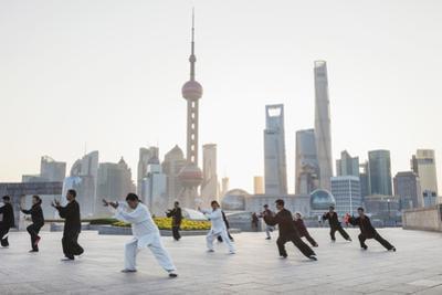 China, Shanghai, The Bund, Group Practicing Tai chi by Steve Vidler