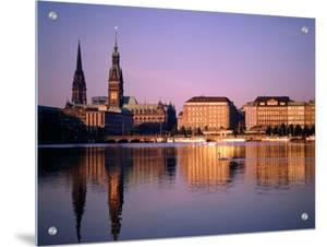 City Skyline and Binnenalster Lake, Hamburg, Schleswig-Holstein, Germany by Steve Vidler