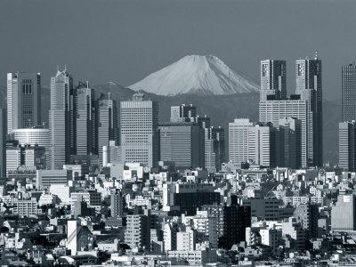 City Skyline and Mount Fuji, Tokyo, Honshu, Japan