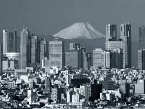 City Skyline and Mount Fuji, Tokyo, Honshu, Japan by Steve Vidler