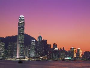 City Skyline and Victoria Harbour at Night, Hong Kong, China by Steve Vidler