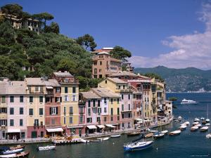 Coastal View, Village and Harbour and Yachts, Portofino, Liguria, Italy by Steve Vidler