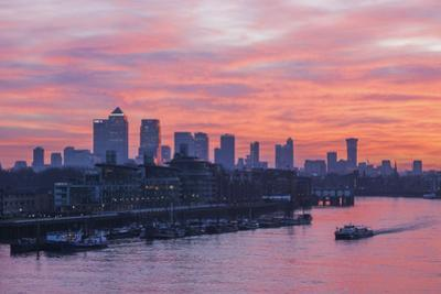 England, London, Sunrise Over Docklands and Canary Wharf by Steve Vidler