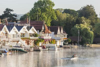 England, Oxfordshire, Henley-on-Thames, Boathouses and Rowers on River Thames by Steve Vidler