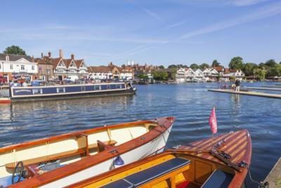 England, Oxfordshire, Henley-on-Thames, Leisure Boats and Town Skyline by Steve Vidler