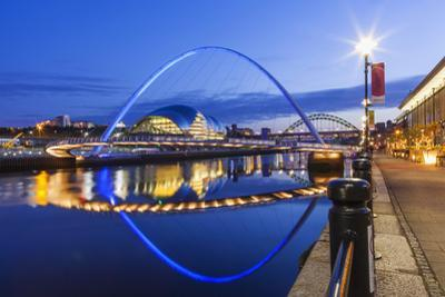 England, Tyne and Wear, Gateshead, Newcastle, Gateshead Millenium Bridge and Newcastle Skyline by Steve Vidler