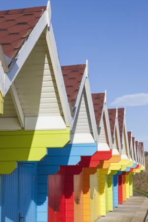 England, Yorkshire, Scarborough, Colourful Beach Huts by Steve Vidler