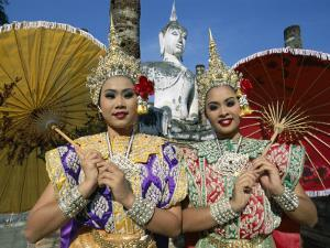 Girls Dressed in Traditional Dancing Costume at Wat Mahathat, SUKhothai, Thailand by Steve Vidler
